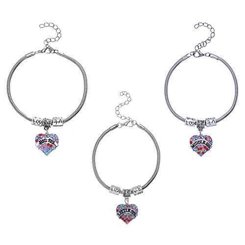 [FM42 Big/Middle/Little Sister Pave Multicolor Crystal Heart Charm Bracelet (Pack of 3)] (Big Sister Little Sister Costumes)