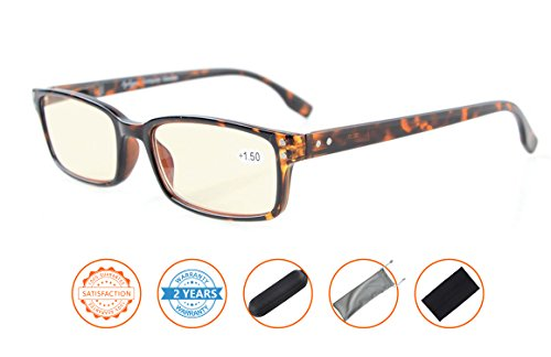 UV Protection,Anti Blue Rays,Reduce Eyestrain,Computer Reading Glasses Men Women(Tortoiseshell,Amber Tinted Lenses) - Blue Ray