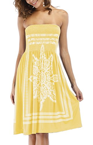Zyyfly Women's Vintage Strapless Empire Waist Tunic Boho Short Dresses Yellow (Empire Strapless Short)