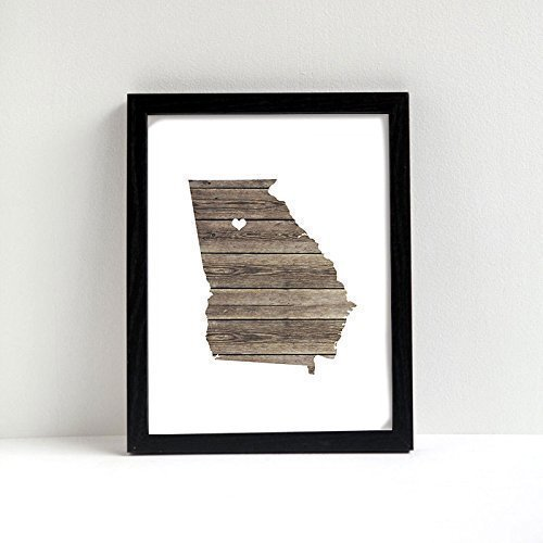 Georgia or any state custom map art print natural series wood burlap sand hometown wall decor unframed