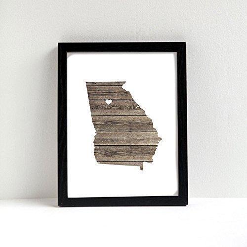 - Georgia or ANY STATE Custom Map Art Print - Natural Series wood, burlap, sand Hometown Wall Decor unframed