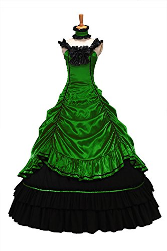 XOMO Southern Belle Civil War Off Shoulder Formal Dress Satin Lolita Dress Ball Gown Dark Green M -