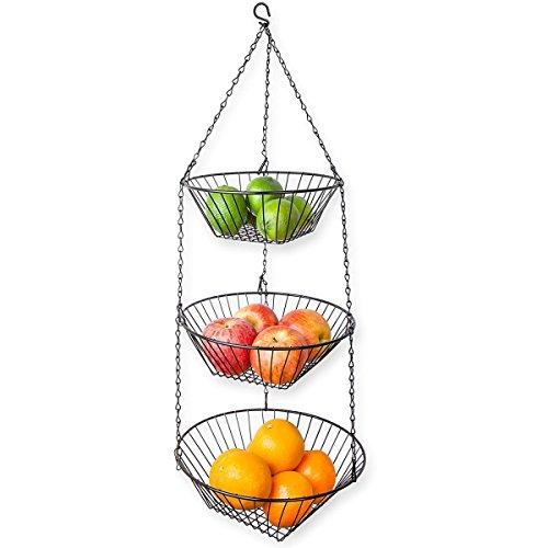 Home Basics 3-Tier Wire Hanging Basket, Black