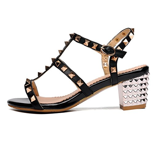 AmoonyFashion Womens Buckle Kitten Heels Cow Leather Solid Open Toe Sandals Black KAaDLQ
