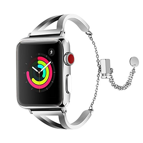 for iWatch Bangle Band 40mm Series 4 38mm Series 3 Women Men - Unique Fancy Stainless Steel Stylish Replacement Strap with Upgraded Clasp for Apple Watch Nike+ Sports Series 2 Series 1