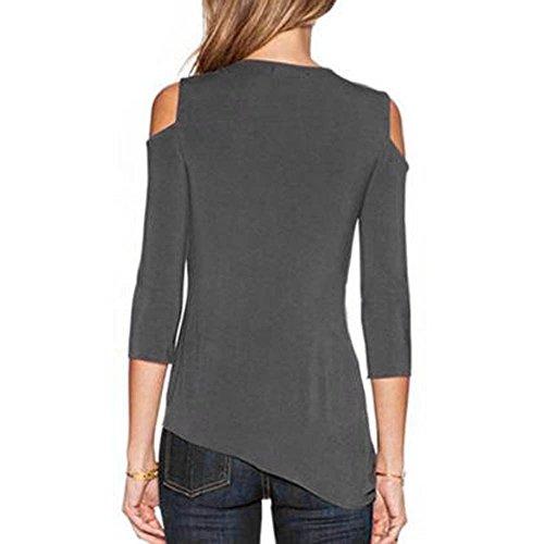 SKY Mujeres La Sra tirantes camiseta de la camisa Summer Loose Top Off Shoulder Blouse Ladies Casual Tops T-Shirt Gris