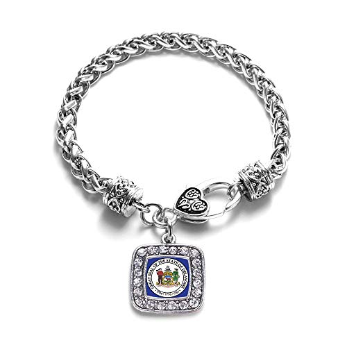 - Inspired Silver - Delaware Flag Braided Bracelet for Women - Silver Square Charm Bracelet with Cubic Zirconia Jewelry