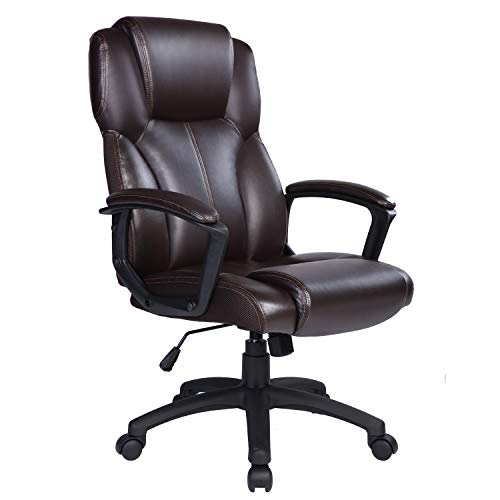 Ptoulemy High Back Office Chair with SpringCushion Computer Executive Desk Chair 360 Swivel Task Chair with arms PU Leather Ergonomic Chair (Brown)