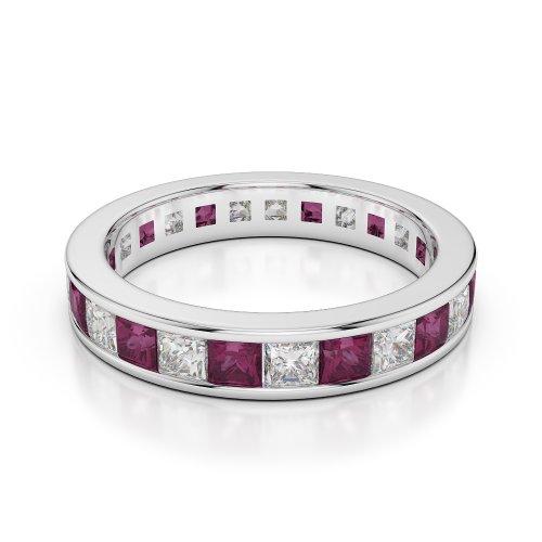 G-H/VS 2,25CT Coupe ronde sertie de diamants Rubis et Full Eternity Bague en platine 950Agdr-1134
