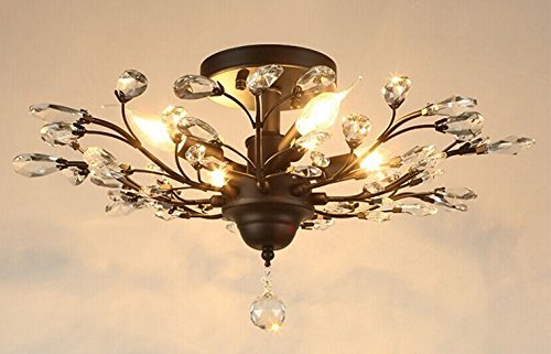 Black Crystal Ceiling Light (SEOL-LIGHT Vintage Crystal Chandeliers Black Ceiling Light Flush Mounted Fixture With 4 Light 240W)
