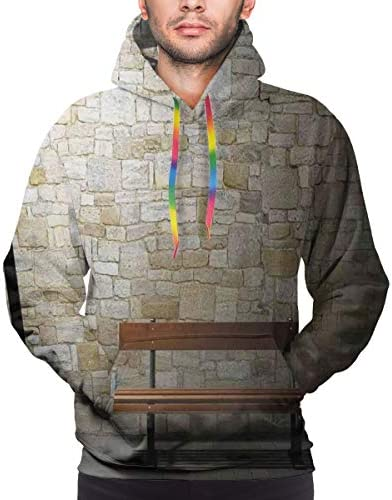 Men's Hoodies Sweatershirt,Modern Avenue at Dark Night with A Open Lamp and Bench and Stone Wall Behind Image,3D Printing Long Sleeve Casual Sweatershirt Tops