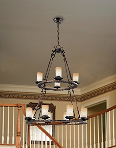 Hamilton Home Oil Rubbed Bronze Finished Multi Tier Chandelier Chandeliers Lighting With Wilshire Shades – Good for Dining Room, Foyer, Entryway !