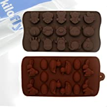 kilofly Silicone Chocolate Mold Tray Pack [Set of 2], Animal Love & Easter Bunny