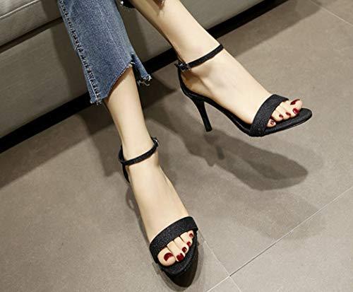 Chaussures la Femmes Fashion de Noir Heels Sandales Fine Chaussures Cuir Boucle à Main High Ultimate en Taille LIANGXIE Petite à Chaussures des Hauts High Lady Peeps Sandales Talons Femmes XqwpxSv1