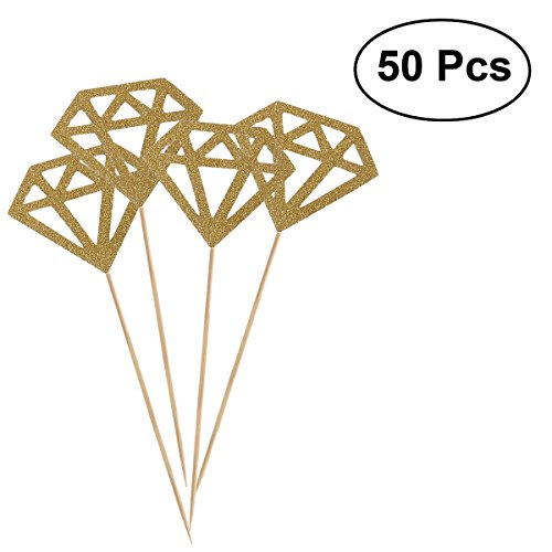 BESTOMZ 50pcs Glitter Paper Gold Diamond Cake Toppers Cake Decoration Party Ceremony Cupcake Toppers (Glitter ()