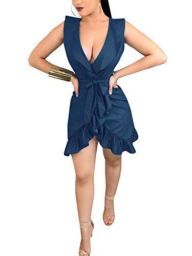 Ruffle Dress Sexy Sleeveless Patchwork V with Chellysun Mini Beach Neck Deep Blue Belt Women 04Wwqa