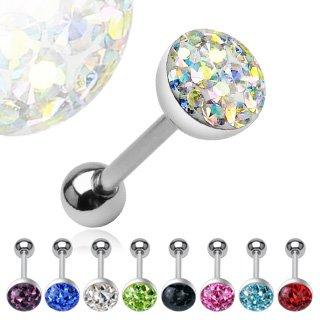 Pashoshka 14G 1.6mmX 5//8 Glitter Tongue Ring Surgical Steel Nickel Free