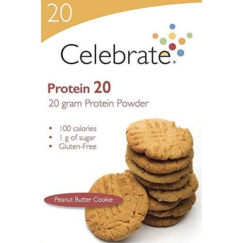 Celebrate Vitamins - Protein 20g - Whey Isolate Protein Powder - Peanut Butter Cookie - 15 Packets/Box (Boxed Butter Cookies)