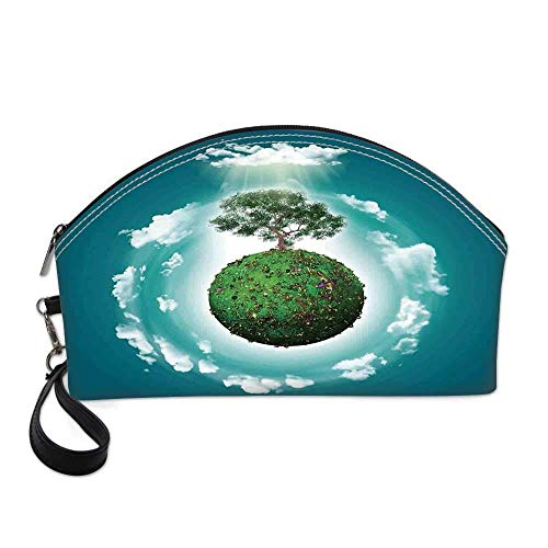 Tree of Life Small Portable Cosmetic Bag,Grassy Globe World with Plant Clouds in Air Science Fiction Mother Earth For Women,Half Moon Shell Shape One size