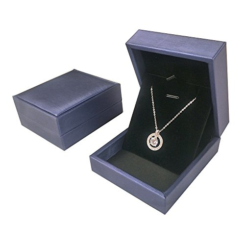 Small Pendant Box - DesignSter Premium Pendant Necklace Gift Box - Elegant Long Chain Jewelry Display Storage Gift Case for Wedding, Engagement, Anniversary, Ceremony