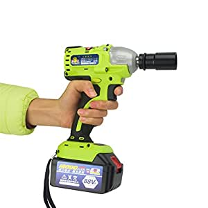 """Focussexy 18V-88V Battery Professional Electric Brushless Cordless 1/2"""" Impact Wrench Set Power Tools 12000 MAH 420Nm Li-Ion Battery + Box"""