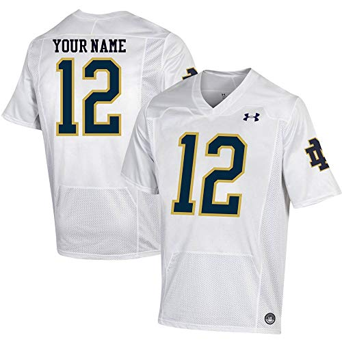 Custom Notre Dame Fighting Irish White Football Jersey (Medium)