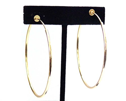 Clip-on Earrings Gold Tone Hoop Earrings Simple Thin 2.25 inch Hoop