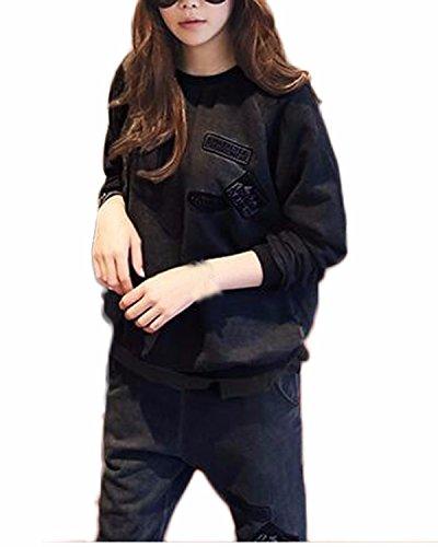 Auxo Mujeres Chándal Deportivo Conjuntos 2PC Otoño Pullover Hoodie Sudaderas Pantalones Negro