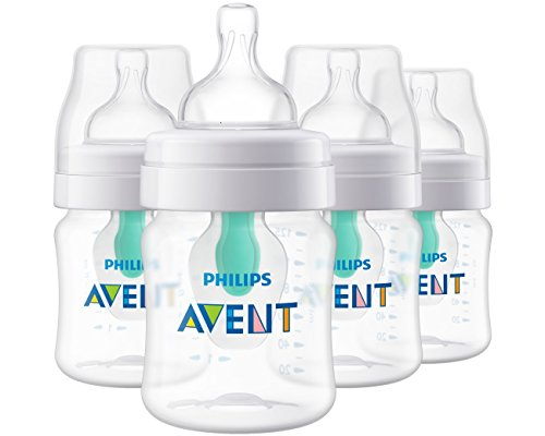 Philips Avent Anti-colic Baby Bottle with AirFree vent 4oz 4pk, SCF400/44
