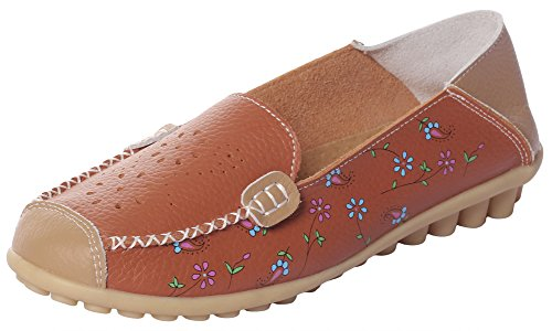 MEWOOCUE Women's Orange Floral Print Leather Moccasins Loafers Shoes Casual Driving Penny Slip On Loafer Flat Size (Studded Leather Moccasins)