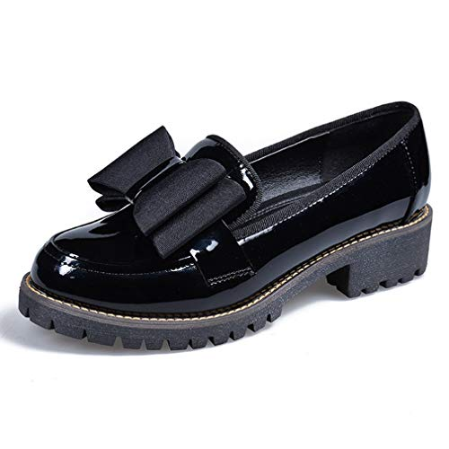 Women's Sweet Bow Low Heel Oxfords Loafers Round Toe Patent Leather Slip On Shoes Black