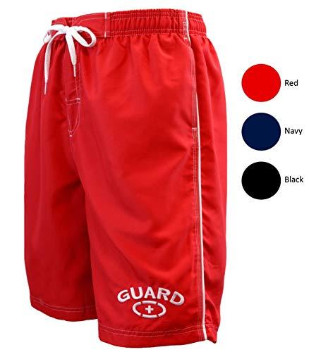 Adoretex Mens Guard Swimwear Board Short Swim Trunk (MG001) - Red - Medium