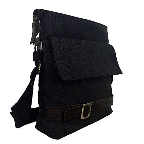 Mfeo Unisex Lightweight Canvas Outdoor Travel Small Crossbody Shoulder Bag (N-Black)