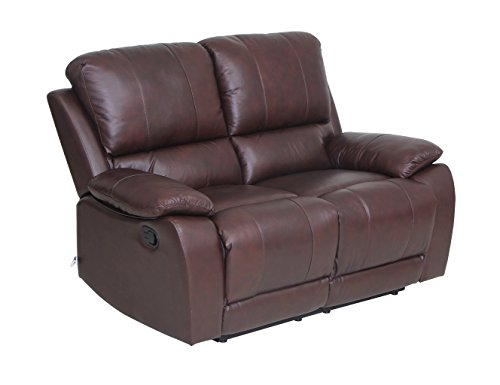 Classic and Traditional Top Grain Leather Sofa Set Loveseat with Overstuff Armrest/Headrest, 2 Seater, Brown by VIVA HOME