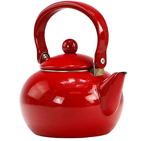 Calypso Basics by Reston Lloyd Enamel-on-Steel Tea Kettle, 2-Quart, Red