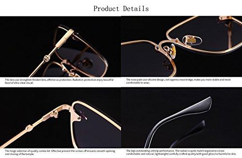 abeja Moda gran de HD decoración tamaño metal de marco la de de sol gafas T6 con de para hombres reflectante gafas mujeres cuadradas lente ATNKE UV400 protección RqH1wCC