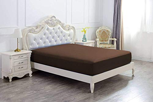 1 Fitted Sheet Only, 100% Egyptian Cotton - 400 Thread Count, Fitted Sheet fitts Upto 15 Inch Deep Pocket, Chocolate Solid- Full Size