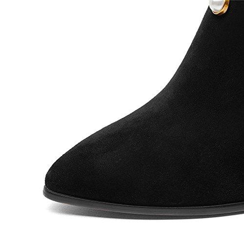 Pearls Leather Handmade Black Nine Block Toe Heel Pointed Pump Suede Seven Shoes Dress Women's 1EWv8Eq