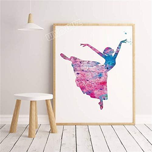 XWArtpic Acuarela de Estilo nórdico Graffiti Ballet Bailarina ...