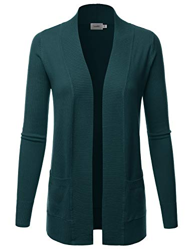 LALABEE Women's Open Front Pockets Knit Long Sleeve Sweater Cardigan-Teal-L