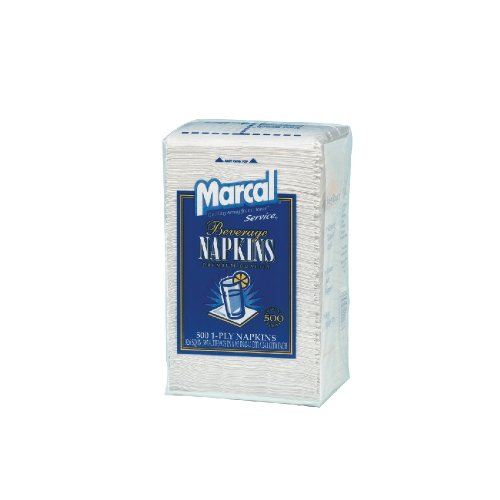 Marcal PRO 28CT 100% Recycled Beverage Napkins, 1-Ply, 9 3/4 X 9 1/2, White (Case of 4,000) by Marcal (Image #1)