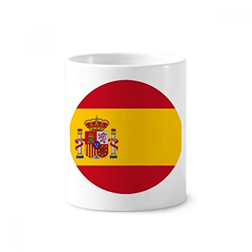 Spain National Flag European Symbol Pattern Toothbrush Pen Holder Mug White Ceramic Cup 12oz by DIYthinker