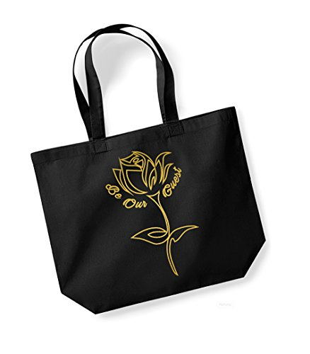 Be Our Guest - Large Canvas Fun Slogan Tote Bag Black/Gold