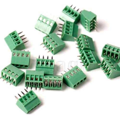 (DBParts 10pcs 4-Pin (4 Pole) Plug-in Screw Terminal Block Connector 2.54mm 0.1