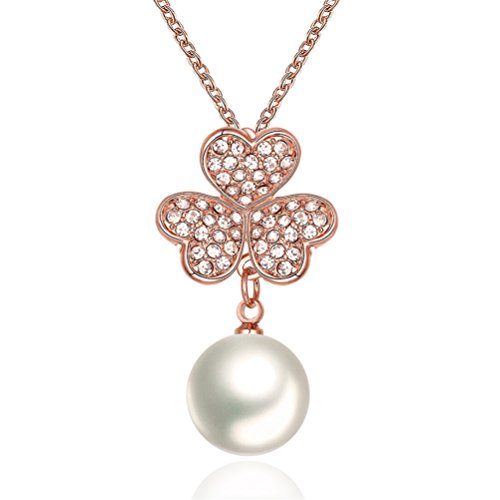 """Mrsrui Pearl Crystal Clovers Necklace """"Sweet Happy"""" Valentines Birthday Gift For Girl Friend 18ct Gold Plated by Mrsrui"""