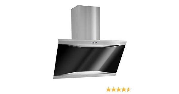 Klarstein Masur - Campana extractora de pared, evacuación / reciclaje, potencia: 3 niveles , evacuación de aire máx.: 590 m³/h, silenciosa: hasta 71 dB, acero inoxidable, color plata / negro: Amazon.es: Hogar
