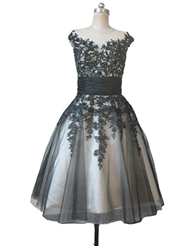 Kivary Beaded Short Gothic Sheer Tulle Champagne and Black Lace Prom Dresses US 6
