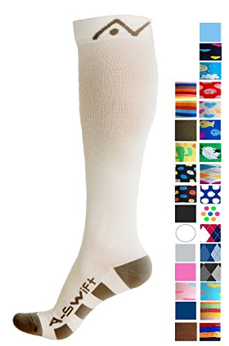 Compression Socks for Women and Men by A-Swift - White, Small