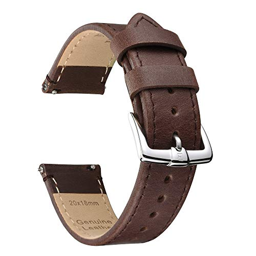 B&E Quick Release Watch Bands Strap Top Grain Genuine Leather - Nubuck Style Wristbands for Traditional & Smart Watch - 18mm 20mm 22mm Width Available -DKBNBN22 ()