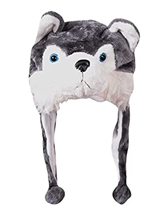 Krystle Boy s Soft Faux Fur Plush Wolf Animal Hat Wool Costume Cap Cute  Stuffed Toy Hood Grey Free Size  Amazon.in  Clothing   Accessories 75b33d07c